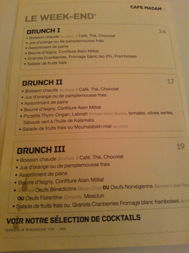 Menu Brunch Café Madam - DR MelleBonPlan