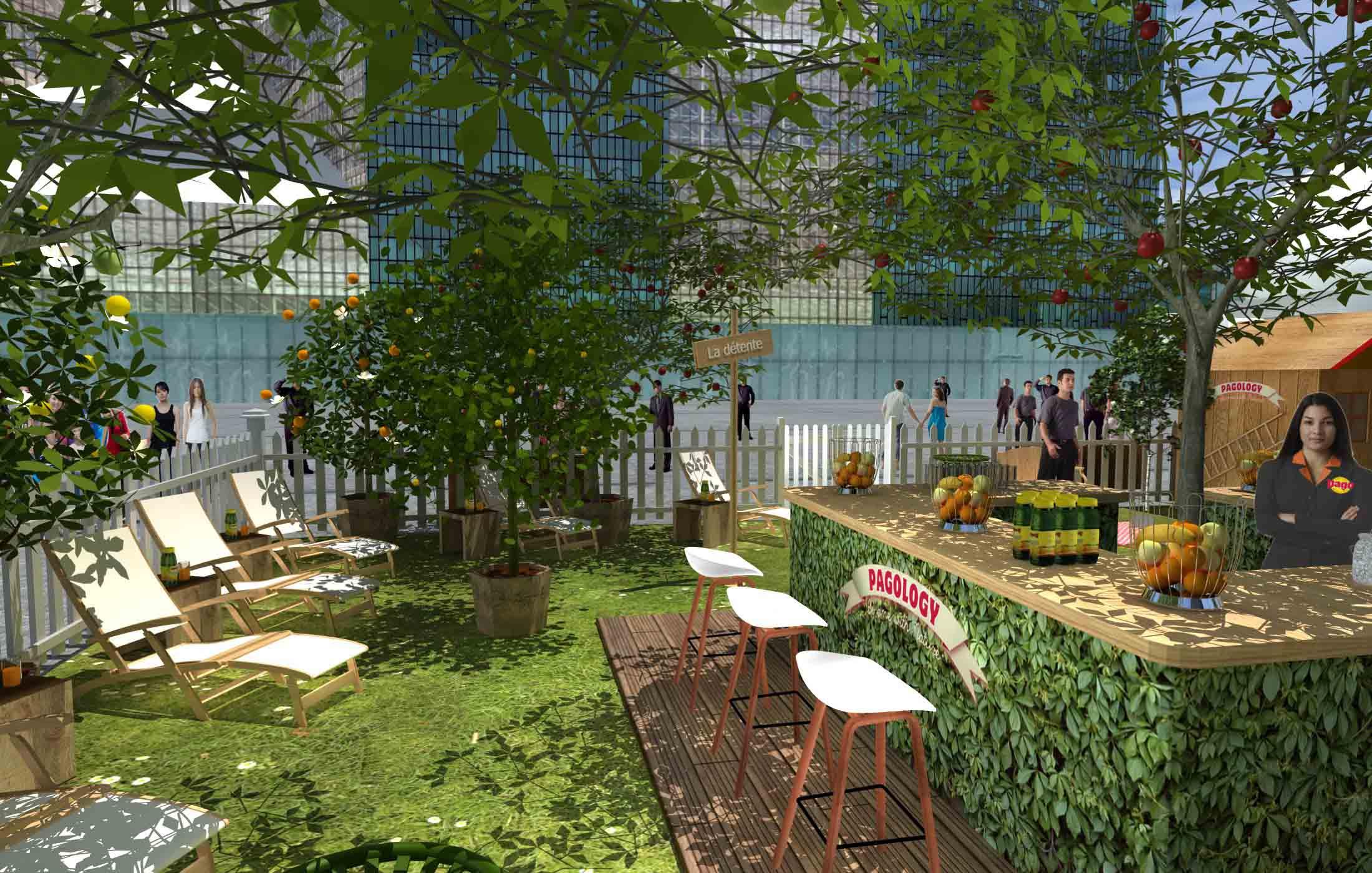 Pago installe un verger la d fense mademoiselle bon plan for Jardin urbain green bar