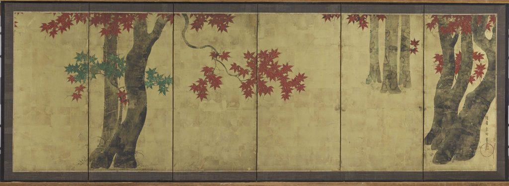 Tawaraya Sōri (actif vers 1764-1780) Erables en automne Paravent à six feuilles – 68,7 x 211,2 cm Encre et couleurs sur un fond de feuilles d'or sur papier. Harvard Art Museums. Promised gift of Robert S. and Betsy Feinberg. FEIN.247