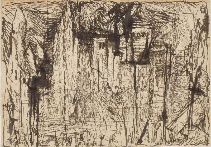 Louis Soutter, « Châteaux ruinés », [1923-1930] encre et plume sur papier Catalogue raisonné n° 329 V Lausanne, Musée cantonal des Beaux-Arts, acquisition, 1956, inv.77