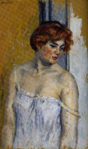 Albert André-Dédé en chemise tombante, Albert André, 1918, huile sur papier marouflé sur toile, coll Musée d'art sacré du Gard de Pont-Saint-Esprit, DR