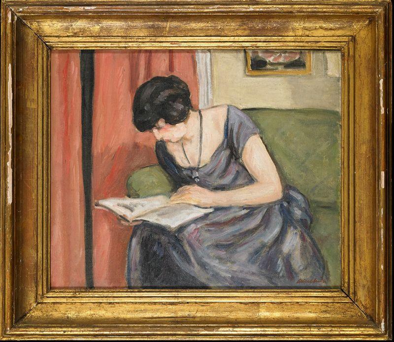 Albert André-Jacqueline lisant en robe de taffetas bleu