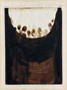 Victor Hugo, Taches avec empreintes de doigts, 1864-1865 encre brune et lavis étalé avec les doigts sur papier beige Bibliothèque nationale de France, département des Manuscrits, © BnF