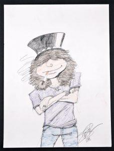 L'autoportrait signé Slash! Exposé au Hard Rock Café de Bruxelles!
