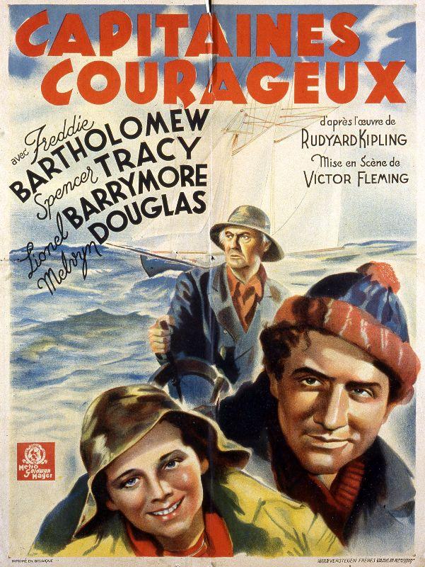 Capitaine courageux. Affiche du film realise en 1937 par Victor FLEMING (1889-1949) avec Freddie BARTHOLOMEW, Spencer TRACY et Lionel BARRYMORE d'apres le roman de Rudyard KIPLING. Credit : Coll. Perron/KHARBINE-TAPABOR.