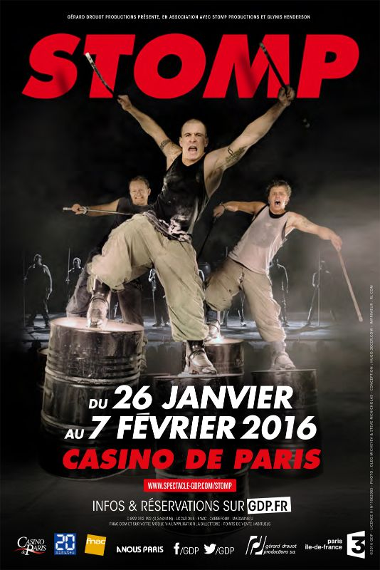STOMP-show-Affiche-spectacle-au-Casino-de-Paris-reprise-janvier-et-février-2016-france-musique-danse-théâtre-Gérard-Drouot-productions