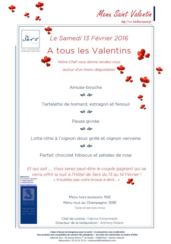 Saint Valentin Hôtel de Sers 2016