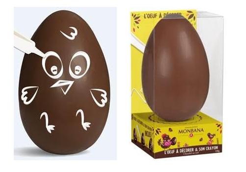 Oeuf à décorer en chocolat de Monbana Pâques 2016