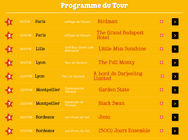 Programme du Tour Movie Nights Ben & Jerry's