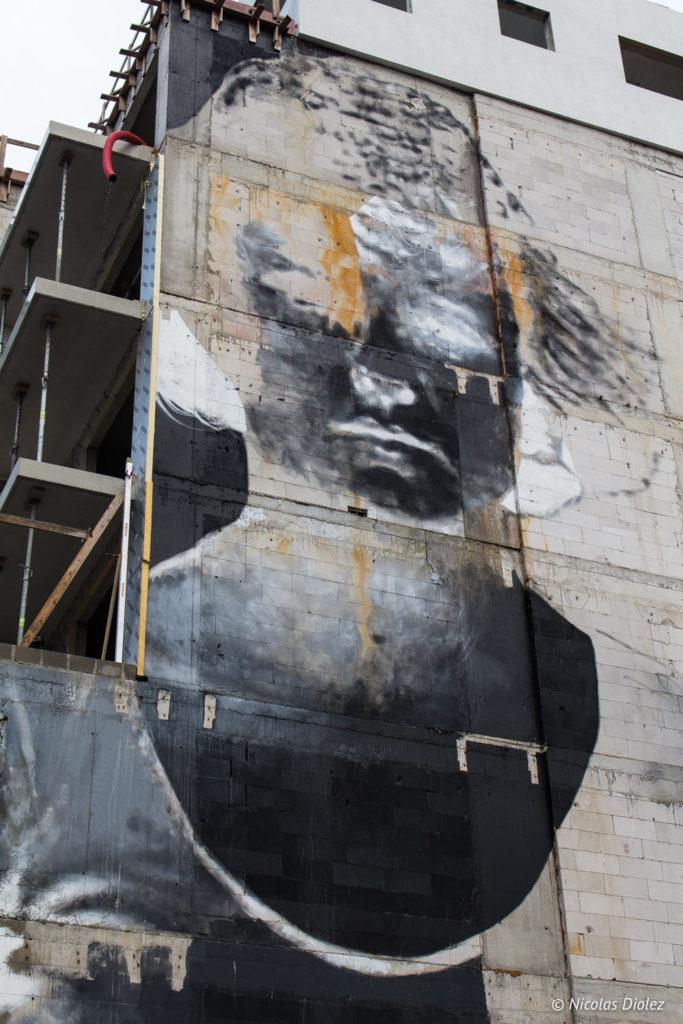 mur Street art négatif Ostende Belgique
