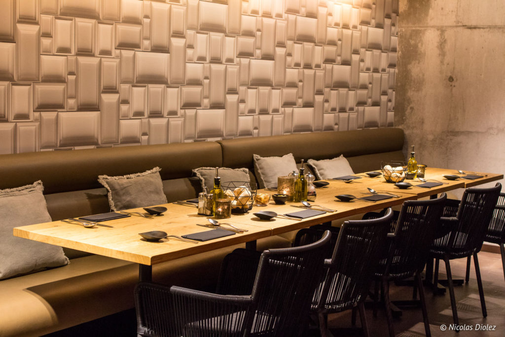 Banquette salle Bistro Bottarga Ostende Belgique
