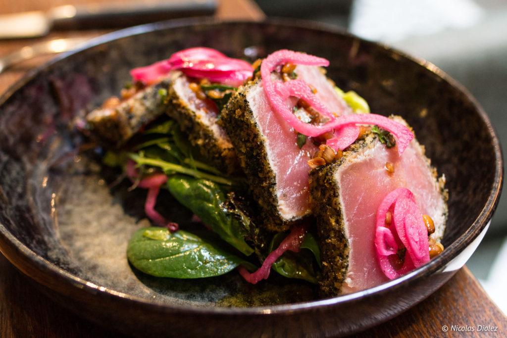Thon mi-cuit restaurant Les Chouettes Paris