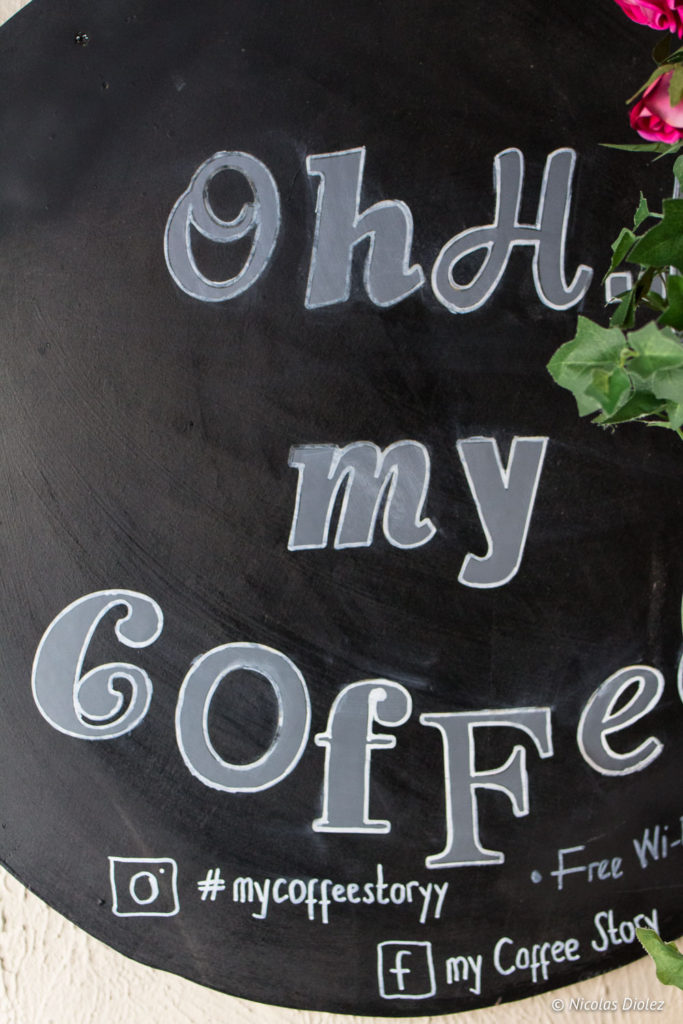 panneau ardoise My Coffee Story Brighton