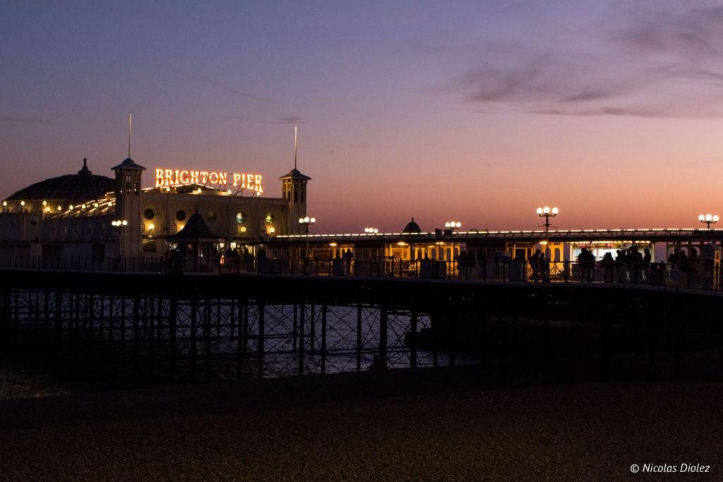 coucher de soleil Brighton Palace Pier