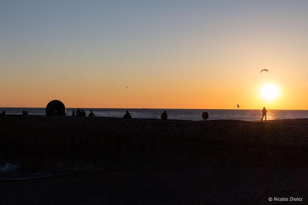 coucher de soleil plage Brighton