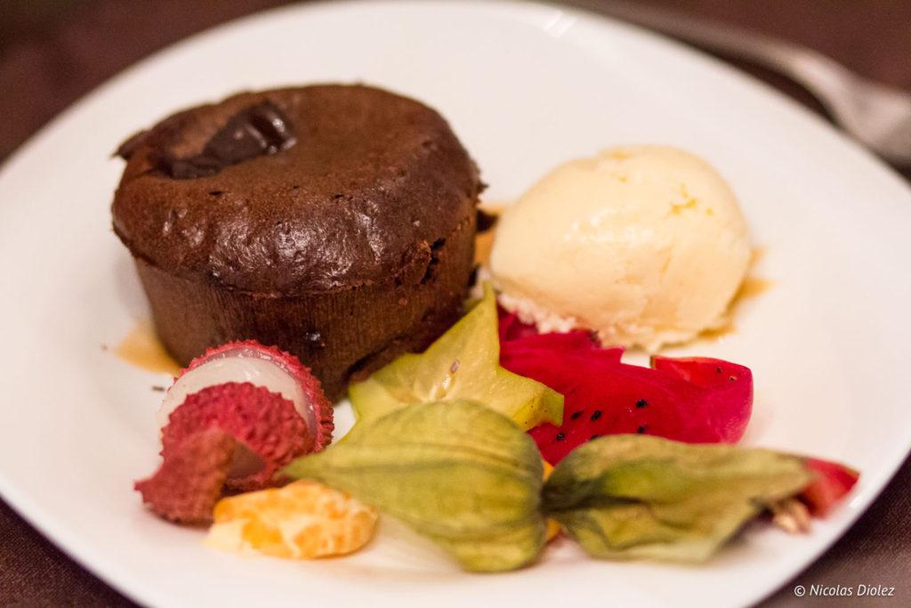 fondant chocolat Restaurant La Charbonnette Onzain Val de Loire