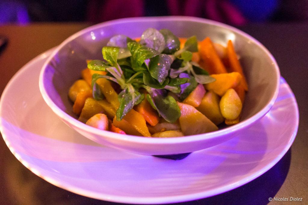 wok de légumes et gnocchis restaurant Jazz Café Montparnasse Paris