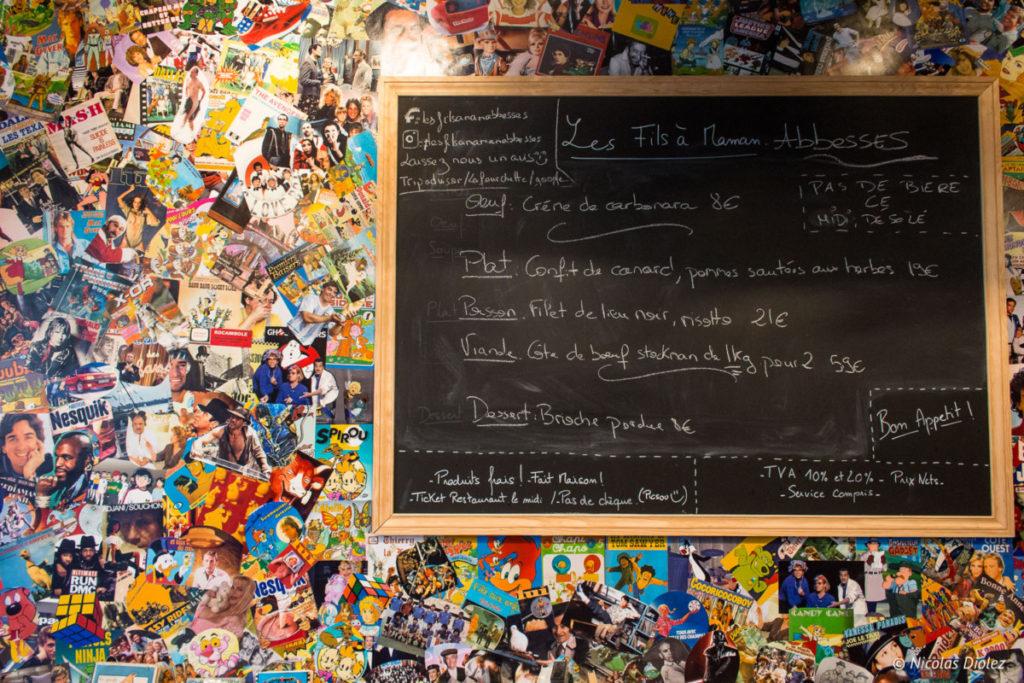 tableau noir Restaurant les Fils à Maman Abbesses Paris
