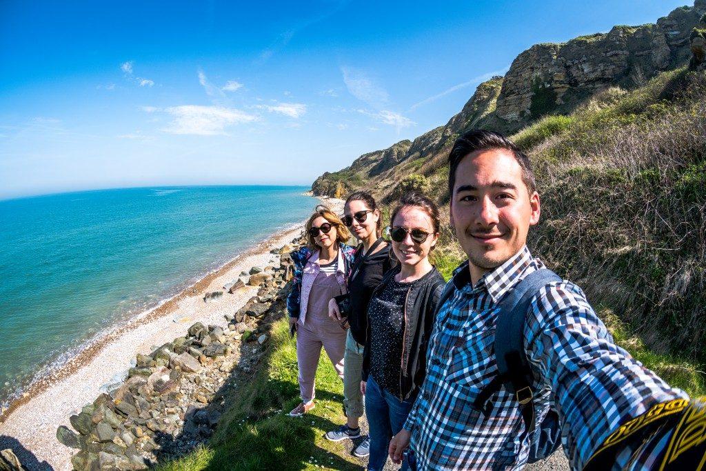 Selfie Blogtrip Normandie Vélo Valentine, Julie, Nicolas et Melle Bon Plan