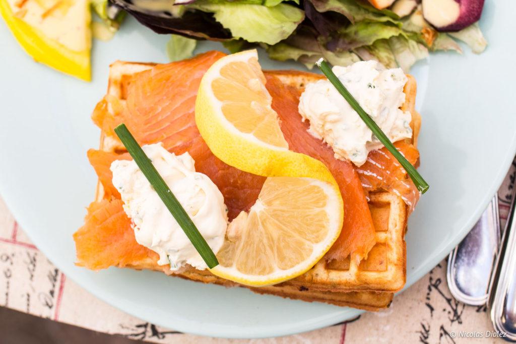 gaufre saumon Echoppe Gourmande Saint Cénéri Le Gerei