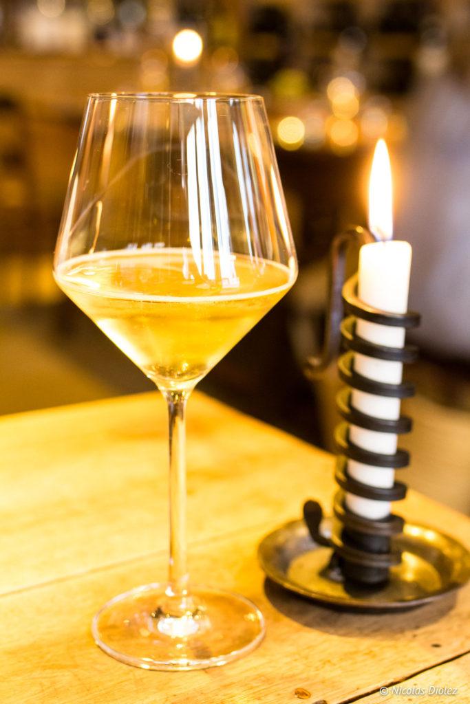 verre bougie Restaurant Caves Madeleine Beaune