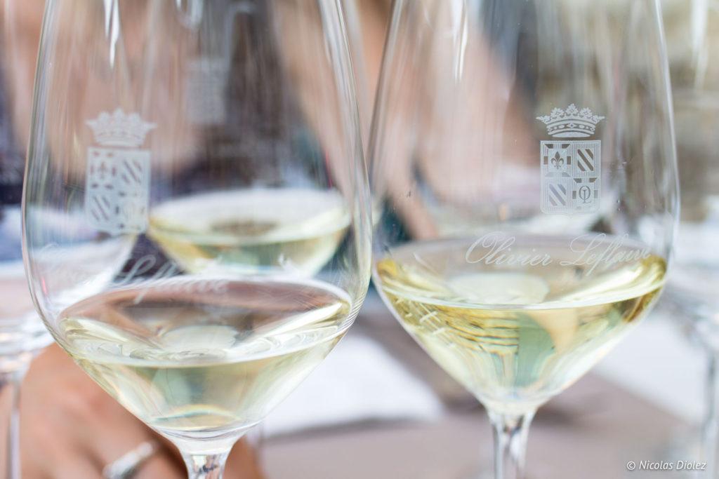 verres vin restaurant Olivier Leflaire Puligny-Montrachet
